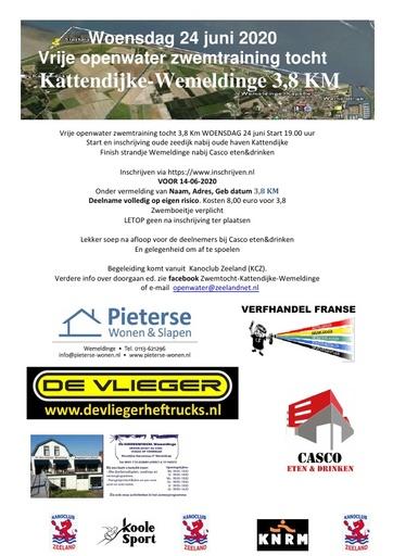 Vrije openwater zwemtraining tocht Kattendijke-Wemeldinge 3,8 KM